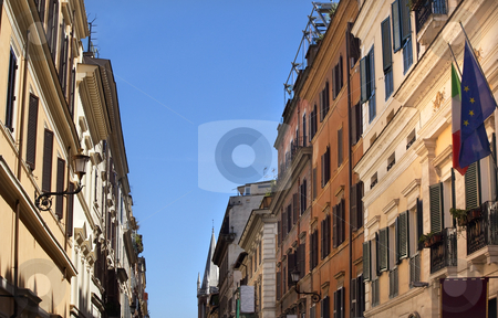 Via Del Balbuno Italy EC Flags Roman Street Rome Italy stock photo, Via Del Balbuno Roman Street Italy EC Flags Church Rome Italy   by William Perry