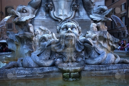 Della Porta Fountain Front of Pantheon Rome Italy stock photo, Della Porta Fountain Piazza della Rotunda, Front of Pantheon Rome Italy   by William Perry