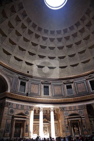 3pm Pantheon Sundial Effect Cupola Ceiling Hole  Rome Italy stock photo, 3PM Pantheon Rome Italy Basilica Palatina uilt in 27BC by Agrippa Oldest church in Rome.  The Cupola Oculus Hole in the Ceiling has a sundial effect.  At 3PM every afternoon, the three pillars lit up to tell the time   by William Perry