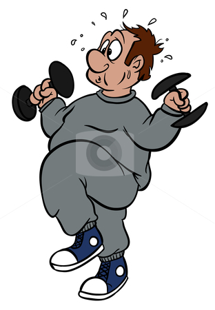 Workout stock photo, An overweight man tries to shed some pounds by working out. by Jonathan Cooke