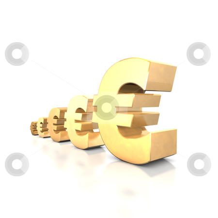 Euro Yield stock photo, 3d illustration looks euro symbols at the white background. by Alexander Limbach
