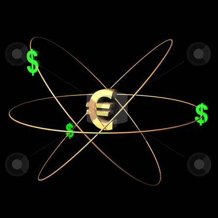 Goldeuro stock photo, European currency symbol with dollars. by Alexander Limbach