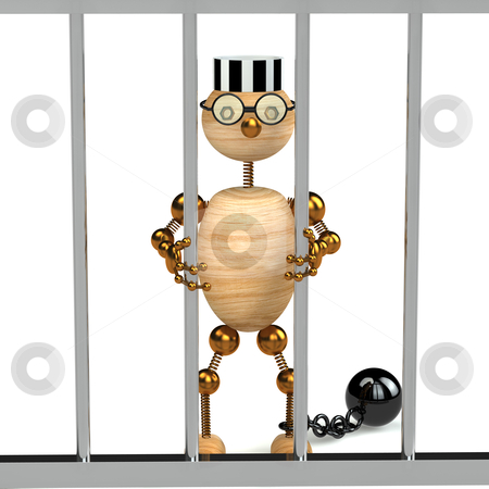 3d wood man as a prisoner stock photo, 3d wood man as a prisoner isolated on white by vetdoctor
