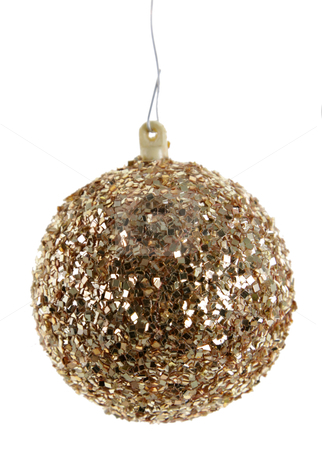 Gold Glittery Christmas Ornament stock photo, A Gold Glittery Christmas Ornament isolated on white.  by Chris Hill