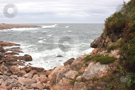 The Green Cove stock photo, A path on a huge granite outcropping at Green Cove, Cape Breton Highlands national park in Nova Scotia, Canada.  by Chris Hill