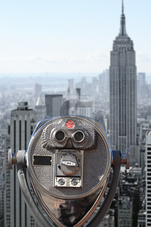 View of downtown Manhattan stock photo, Photo of binoculars pointed at downtown Manhattan.