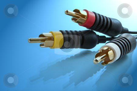AV cables. stock photo, Close up of AV cable connectors with blue light effect background. by Samantha Craddock
