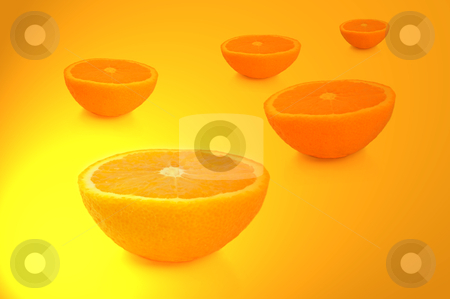 Orange fruit halves. stock photo, FIve freshly cut orange halves arranged over vibrant yellow and gold light effect. by Samantha Craddock