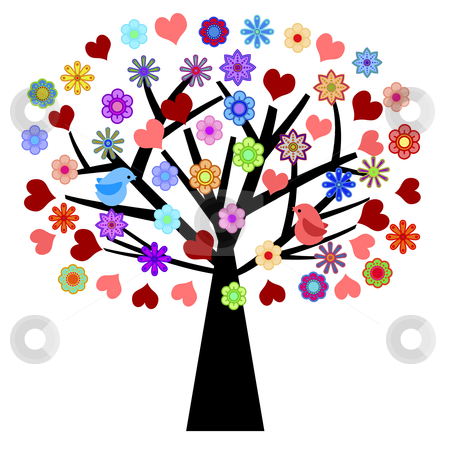 Valentines Day Tree with Love Birds Hearts Flowers stock photo, Valentines Day Tree with Love Birds Hearts Flowers Illustration by Thye Gn