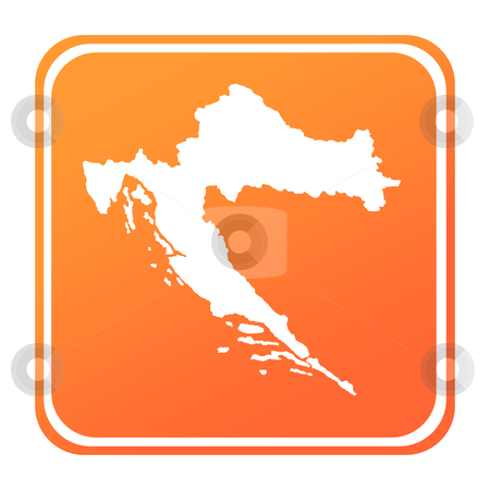 Croatia map button stock photo, Illustration of Croatia map button; isolated on white background. by Martin Crowdy