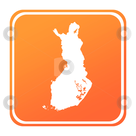 Finland map button stock photo, Illustration of Finland map button; isolated on white background. by Martin Crowdy