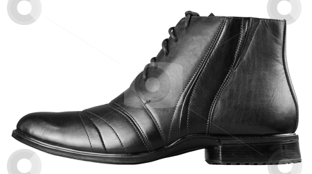 Black mans shoe stock photo, Black man's shoe isolated on white background by krasyuk