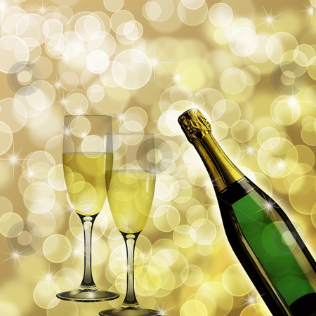 Champagne Bottle and Two Glasses Bokeh Background stock photo, Champagne Bottle and Two Glasses for Celebration Bokeh Background Illustration by Thye Gn
