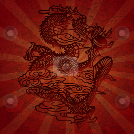 Paper Cutting Asian Dragon with Grunge Texture stock photo, Paper Cutting Asian Dragon Grunge Texture with Rays Illustation by Thye Gn