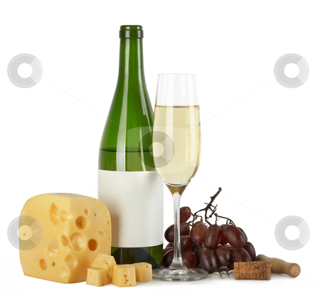Bottle and glass of white wine with cheese stock photo, Bottle and glass of white wine with cheese, grapes, a cork and a corkscrew on a white background by krasyuk