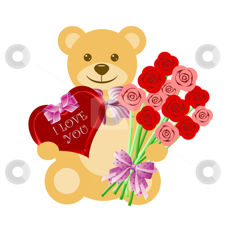 Teddy Bear with Rose Bouquet and Heart Box stock photo, Teddy Bear with Rose Bouquet and Heart Box of Chocolate Illustration by Thye Gn