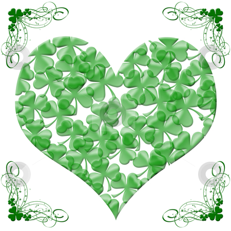 Happy St Patricks Day Heart of Shamrock Leaves stock photo, Happy St Patricks Day Heart of Shamrock Leaves Illustration by Thye Gn