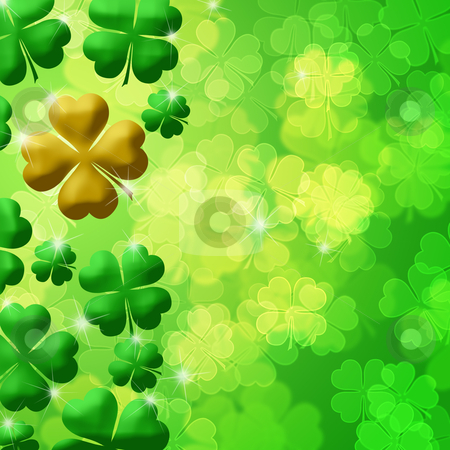 Four Leaf Clover Shamrock Leaf Bokeh stock photo, Four Leaf Clover Lucky Irish Shamrock Bokeh Background Ilustration by Thye Gn