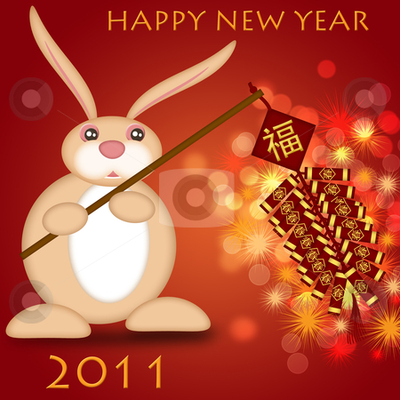 Happy Chinese New Year 2011 Rabbit Holding Firecrackers stock photo, Happy Chinese New Year 2011 Rabbit Holding Firecrackers Bokeh Illustration by Thye Gn