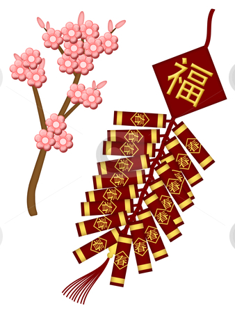 Chinese New Year Firecrackers with Spring Flowers stock photo, Chinese New Year Firecrackers with Spring Flower Blossoms Illustration by Thye Gn