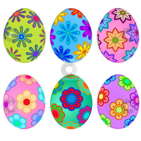 Colorful Easter Eggs with Floral Design stock photo, Colorful Easter Eggs with Floral Design Illustration by Thye Gn