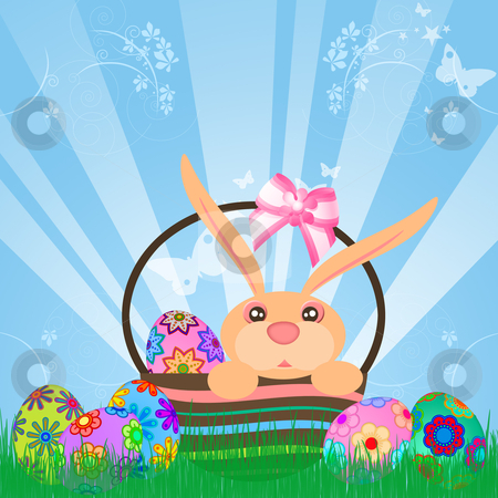 Easter Eggs Bunny Rabbit in Basket stock photo, Easter Eggs Bunny Rabbit in Basket Floral Design Sky Rays Grass Illustration by Thye Gn