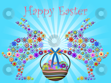 Happy Easter Bunnies Holding Basket of Floral Eggs stock photo, Happy Easter Abstract Bunnies Holding Basket of Floral Eggs Illustration by Thye Gn