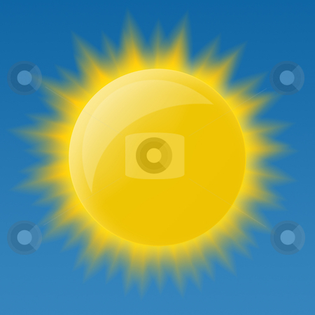 Bright glossy sun stock photo, Bright glossy sun on blue background by krasyuk
