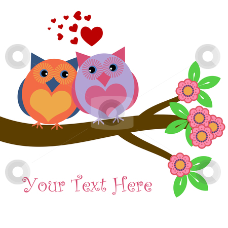 Owls in Love Sitting on Tree Branch stock photo, Owls in Love Sitting on Tree Branch with Hearts and Flowers Illustration by Thye Gn