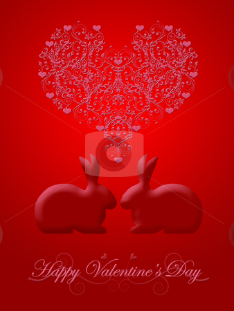 Happy Valentines Day Honeysuckle Red Bunny Rabbit stock photo, Happy Valentines Day Bunny Rabbit with Pink Hearts and Scrolls Illustration Red Background by Thye Gn