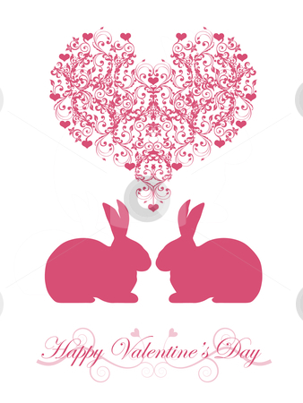 Happy Valentines Day Honeysuckle Pink  Bunny Rabbit stock photo, Happy Valentines Day Bunny Rabbit with Pink Hearts and Scrolls Illustration by Thye Gn