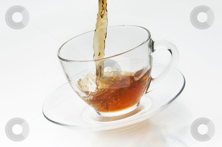 Cup with tea on white background stock photo, Cup with tea on white background by krasyuk