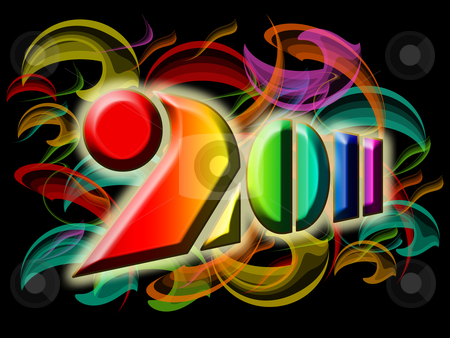 Happy New Year 2011 with Colorful Swirls and Flames stock photo, Happy New Year 2011 with Colorful Swirls and Flames Illustration by Thye Gn