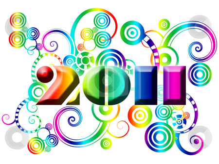 Happy New Year 2011 with Colorful Swirls and Circles stock photo, Happy New Year 2011 with Colorful Swirls and Circles Illustration by Thye Gn