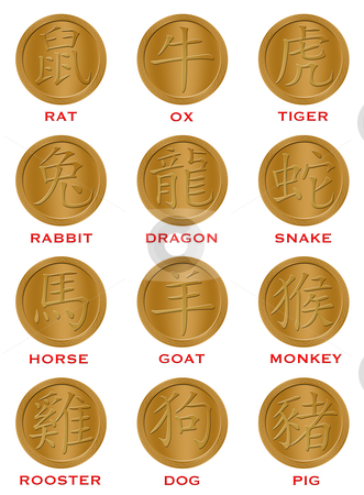 Twelve Chinese Zodiac Gold Coins stock photo, Twelve Chinese New Year Zodiac Gold Coins Illustration by Thye Gn