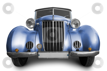 Old blue car stock photo, Old blue car on white background by krasyuk