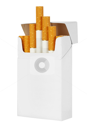 Pack of cigarettes  stock photo, Pack of cigarettes isolated on white background by krasyuk