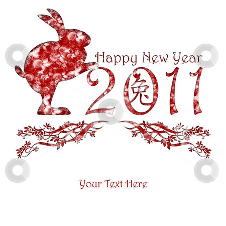 Chinese New Year Rabbit Holding 2011 stock photo, Chinese New Year Rabbit holding 2011 Red with Peony Flowers Motif by Thye Gn
