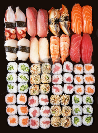 Sushi stock photo, Set of Japanese sushi background by krasyuk