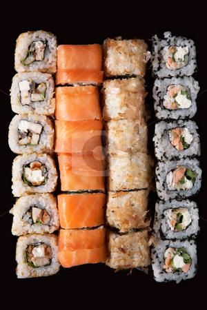 Sushi stock photo, Set of Japanese sushi background by krasyuk