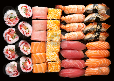 Ssushi stock photo, Set of Japanese sushi background by krasyuk