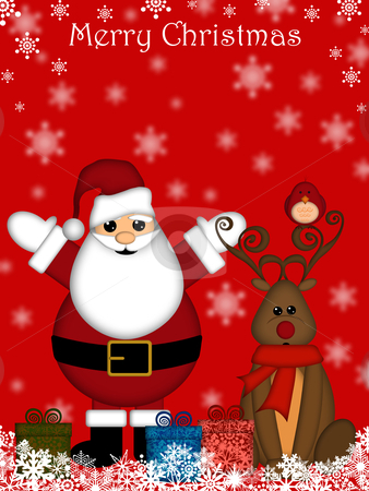 Christmas Santa Claus and Red-Nosed Reindeer stock photo, Christmas Santa Claus and Red-Nosed Reindeer with Red Background by Thye Gn