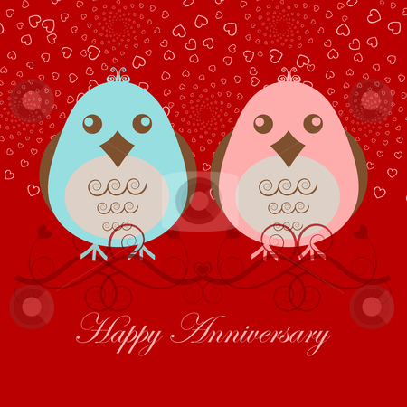 Happy Anniversary Two Love Birds stock photo, Happy Anniversary Two Love Birds Pink Blue on Red Background by Thye Gn