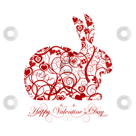 Happy Valentines Day Red Bunny Rabbit stock photo, Happy Valentines Day Bunny Rabbit with Red Hearts and Swirls by Thye Gn