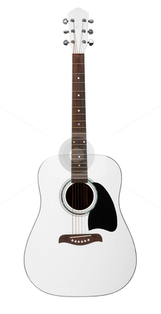 White acoustic guitar stock photo, White acoustic guitar isolated on white background by krasyuk