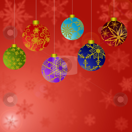 Hanging Christmas Ornaments with Snowflakes Background 2 stock photo, Hanging Christmas Ornaments with Snowflakes with Red Background by Thye Gn