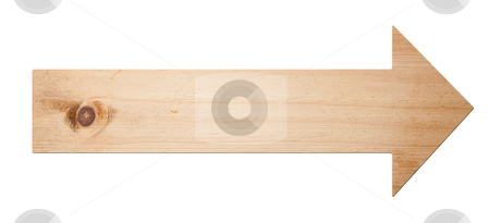 Arrow sign isolated, with clipping path.  stock photo, Arrow sign made out of wood isolated, with clipping path.  by Pablo Caridad