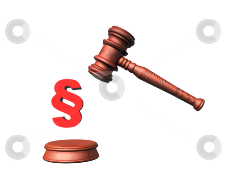 Judge Hammer 3D stock photo, 3d illustration looks a judge hammer for a white background. by Alexander Limbach