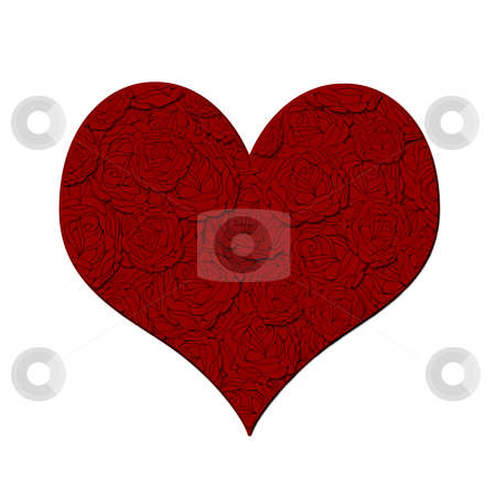 Valentines Day Heart with Red Roses Pattern stock photo, Happy Valentines Day Heart with Red Roses Pattern Illustration by Thye Gn