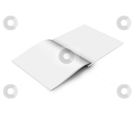 Blank magazine stock photo, Blank open book on white background by imaginative